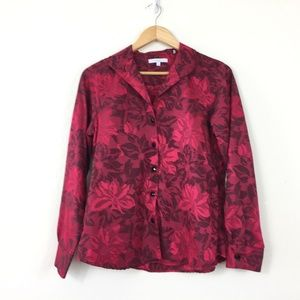 Foxcroft Wrinkle Free Floral Button Front Blouse